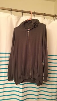 Size large women's grey zip up sweater-gently worn once. Caledonia, 53402