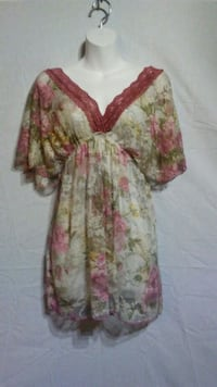 Pink and green floral long-sleeved dress Oklahoma City
