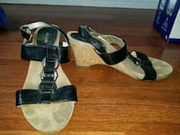 pair of black-and-brown wedge sandals size 8 Winnipeg, R2K 3G2