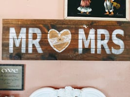 Mr and Mrs wooden Farmhouse wall decor