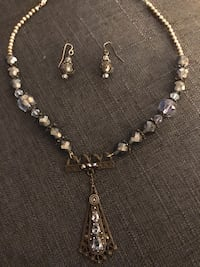 •Betty~Vintage• necklace.  Blue topaz, AB crystals 925 silver Ashburn, 20147