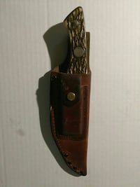 Buck Antler Handled Buck Knife with Leather Sheath