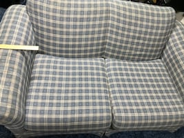 Love seat couch blue plaid. Great shape!