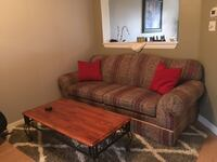 brown and red floral sectional couch Markham, L3R 1A2