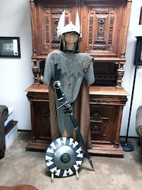Stainless Steel Chainmail Armor Complete w/ Coif, Shield, Helmet, more