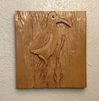 Relief carving of a Sandpiper, 10 by 9 1/2 inches. Hand carved by myself.  Glendale