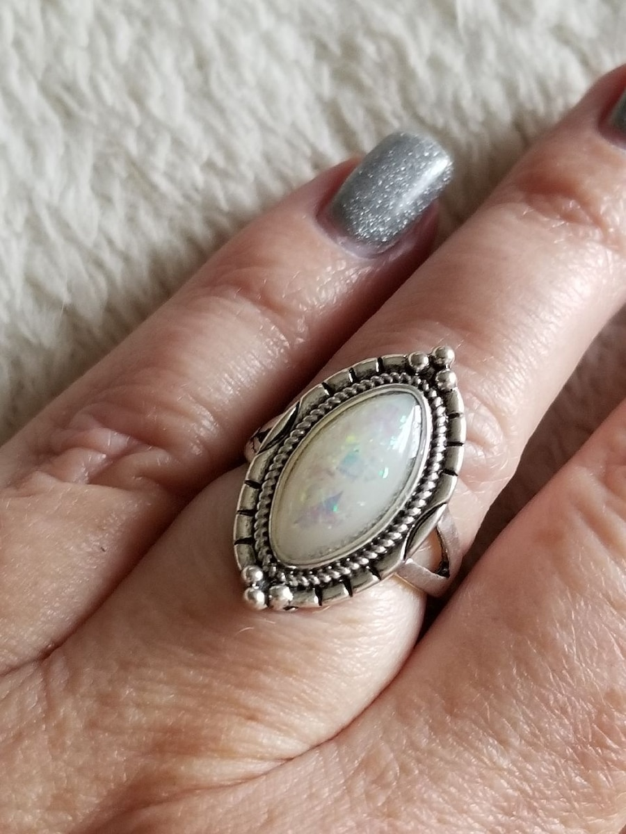 Photo Silver and Opal Ring Size 6