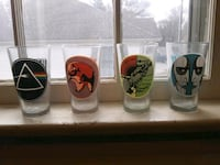Collectible Pink Floyd graphic drinking glasses