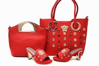 two red leather tote bag; pair of red leather peep-toe chunky heels