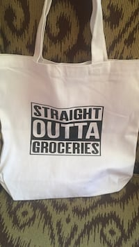 white Straight Outta Groceries-printed tote bag Edmonton, T5T 0W6