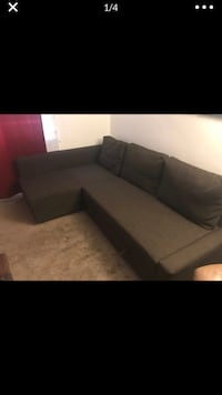 Brown suede sectional sofa with throw pillows and pull out bed  Arlington, 22204