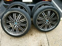 black multi-spoke car wheel with tire set Arlington, 22204