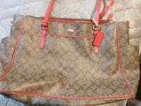 brown monogram Coach leather tote bag