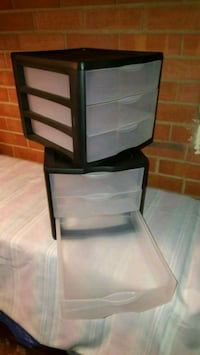 2- Black 3 Drawer Tupperware Containers 28 km