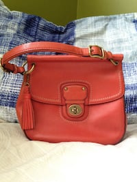 Authentic Coach Red Leather Limited Edition Willis Handbag Purse.
