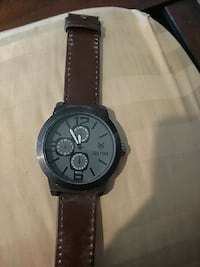 round black chronograph watch with black leather strap Santee, 92071