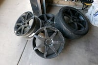 two chrome 5-spoke car wheels with tires Calgary, T2Y 4Z5