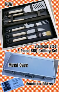 Stainless Steel 5 Piece BBQ Grilling Set with Case