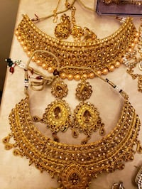 gold and diamond studded necklace