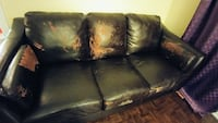 Black faux leather couch Kitchener, N2H 5G5