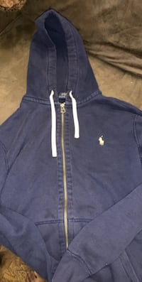 Polo Hoodie Navy Blue Yellow Horse Size Large
