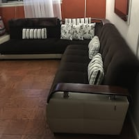 Brown and Beige L shaped sectional sofa New York, 11106