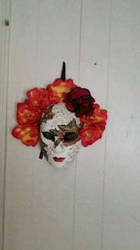red and orange flowers accent mask wall decor 908 mi
