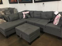Linen fabric sectional with storage ottoman. Brand new.  Lewisville