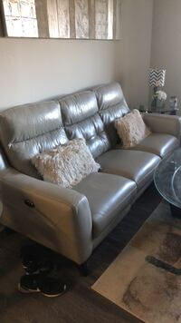 Light grey leather sofa chair with ottoman Ashburn, 20147