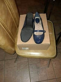 pair of blue cap-toe Mary Jane flat shoes with box