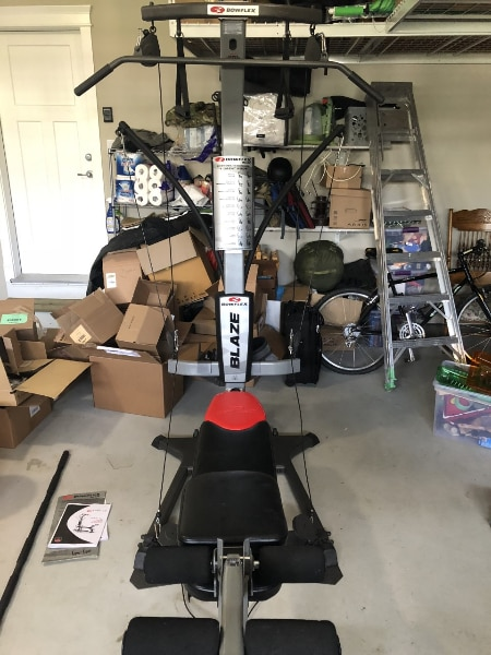 Used bowflex blaze home gym and free weights for sale in white