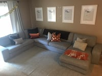 Grey sectional sofa - chaise can be removed to make a smaller sectional and let the chaise sit separately