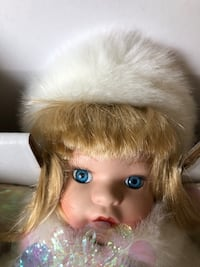 "Christmas porcelain doll. ""Snow Drop"" from 1997 Trumbull, 06611"