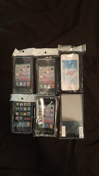 five assorted iPhone cases and one screen protector in packs Haymarket, 20169