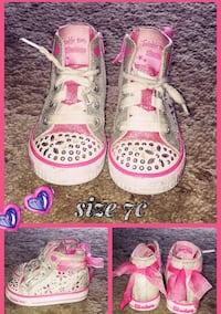 pair of pink-and-white Converse high tops Oxnard, 93036