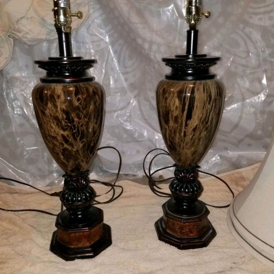 Pair of beautiful onyx stripe lamps with shades