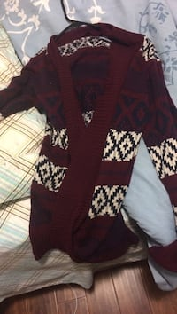 Red and white tribal-pattern sweater