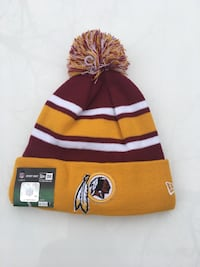 yellow and maroon knit cap