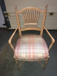 Brown wooden framed white and red plaid padded armchair Gaithersburg, 20879
