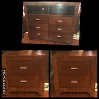 Two wood nightstands and a matching six drawer dresser Los Angeles, 91423
