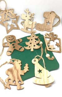 8pc Wooden Pendant Holiday Ornaments Scandinavian Vancouver, 98687