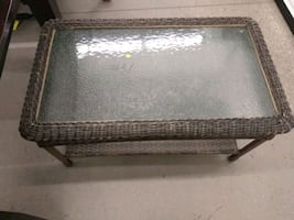 Glass Wicker Table