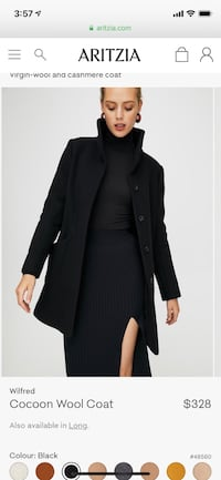 Aritzia Cocoon Coat Small Black Short Toronto, M4Y
