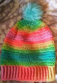 Sherbet slouchy hat with removable pom pom for eas 373 mi