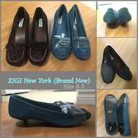 Two pairs of blue and black loafers