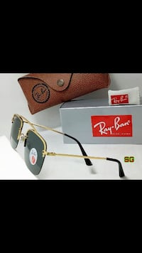 occhiali da sole Ray-Ban color oro e nero con scatola e borsa in pelle Ray-Ban marrone Monteviale, 36050