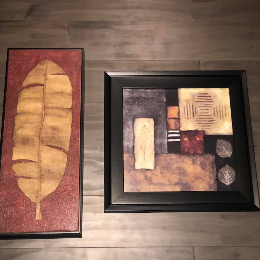 Leaf wall art lot