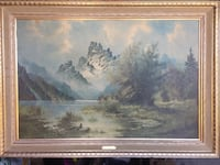 """Misty peaks "" water painting in gold wooden frame Toronto, M5V 4A2"