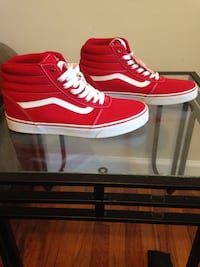 pair of red-and-white Vans Sk8 Hi shoes Chicago, 60657