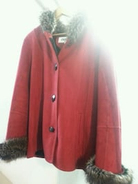 red and gray fur-lined button-up jacket